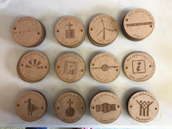 9cm Wooden Symbol Spot discs by Mini Map-Makers