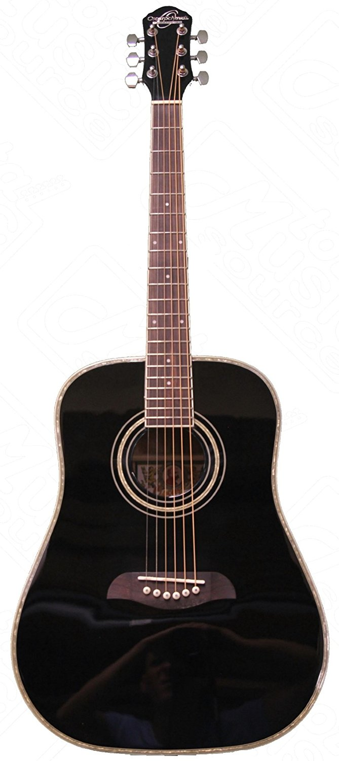 Oscar Schmidt OG1BLH Left Handed 3/4 Acoustic Guitar in Black