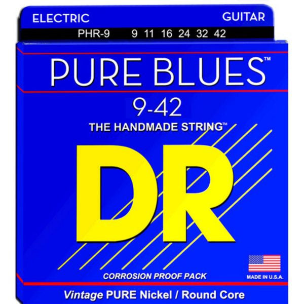 DR Strings Pure Blues PHR-9 Pure Nickel Electric Guitar Strings 9-42