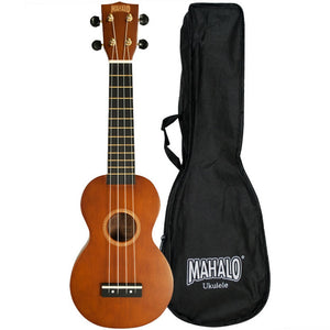 MAHALO MR1-TBR-PK Rainbow Series Soprano Ukulele, Trans-brown