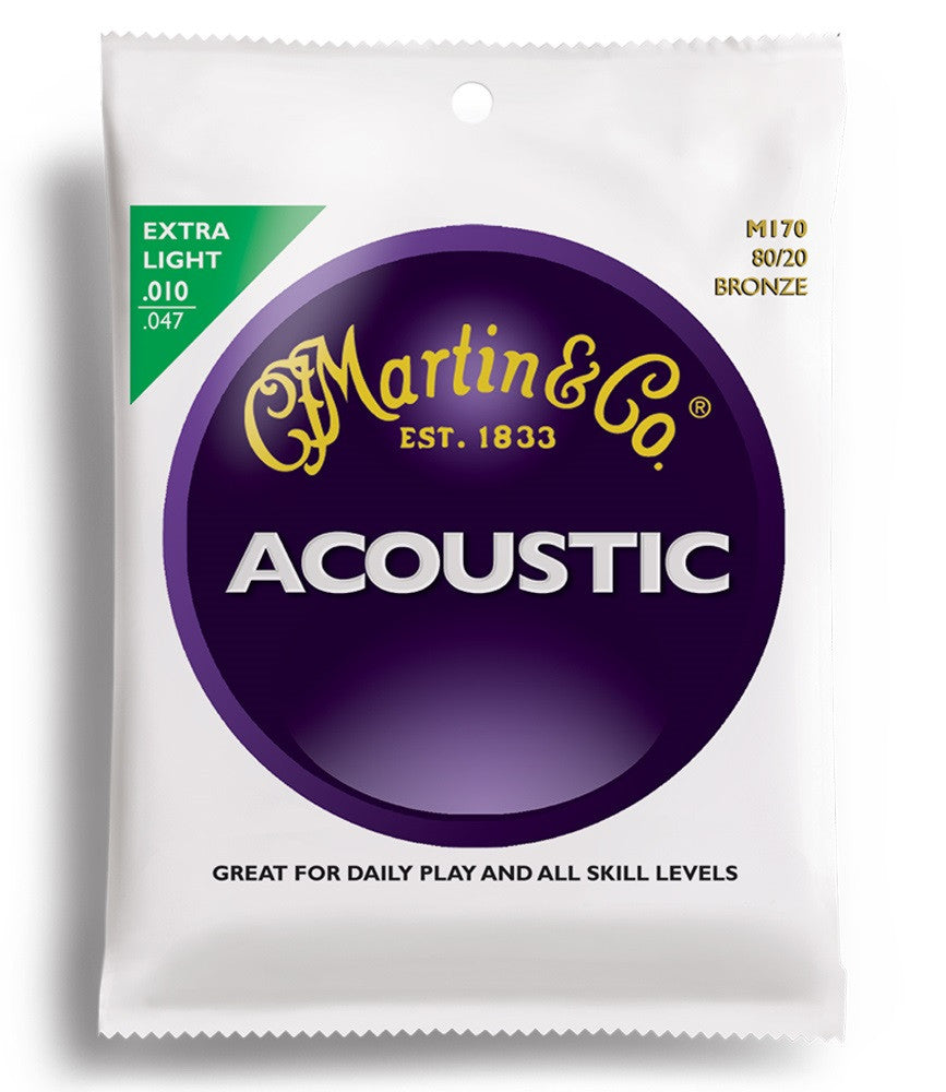 Martin M170 80/20 Bronze Acoustic Guitar Strings Extra Light 10-47