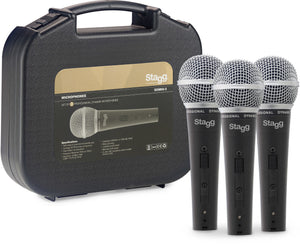 Stagg (3) professional cardioid dynamic microphones with cartridge DC78 SDM50-3