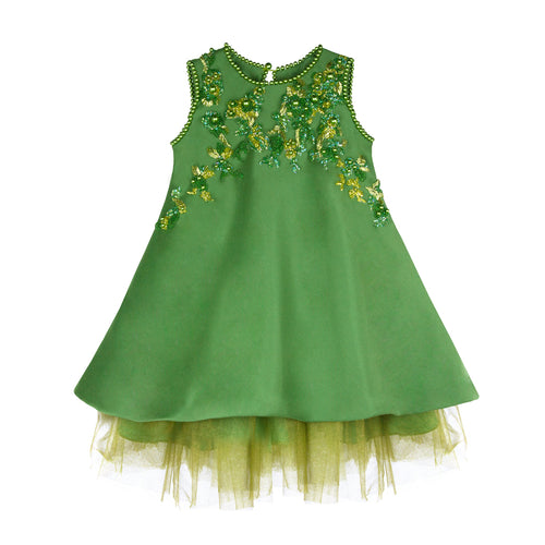 Green Dress with Pearls and Green Roses