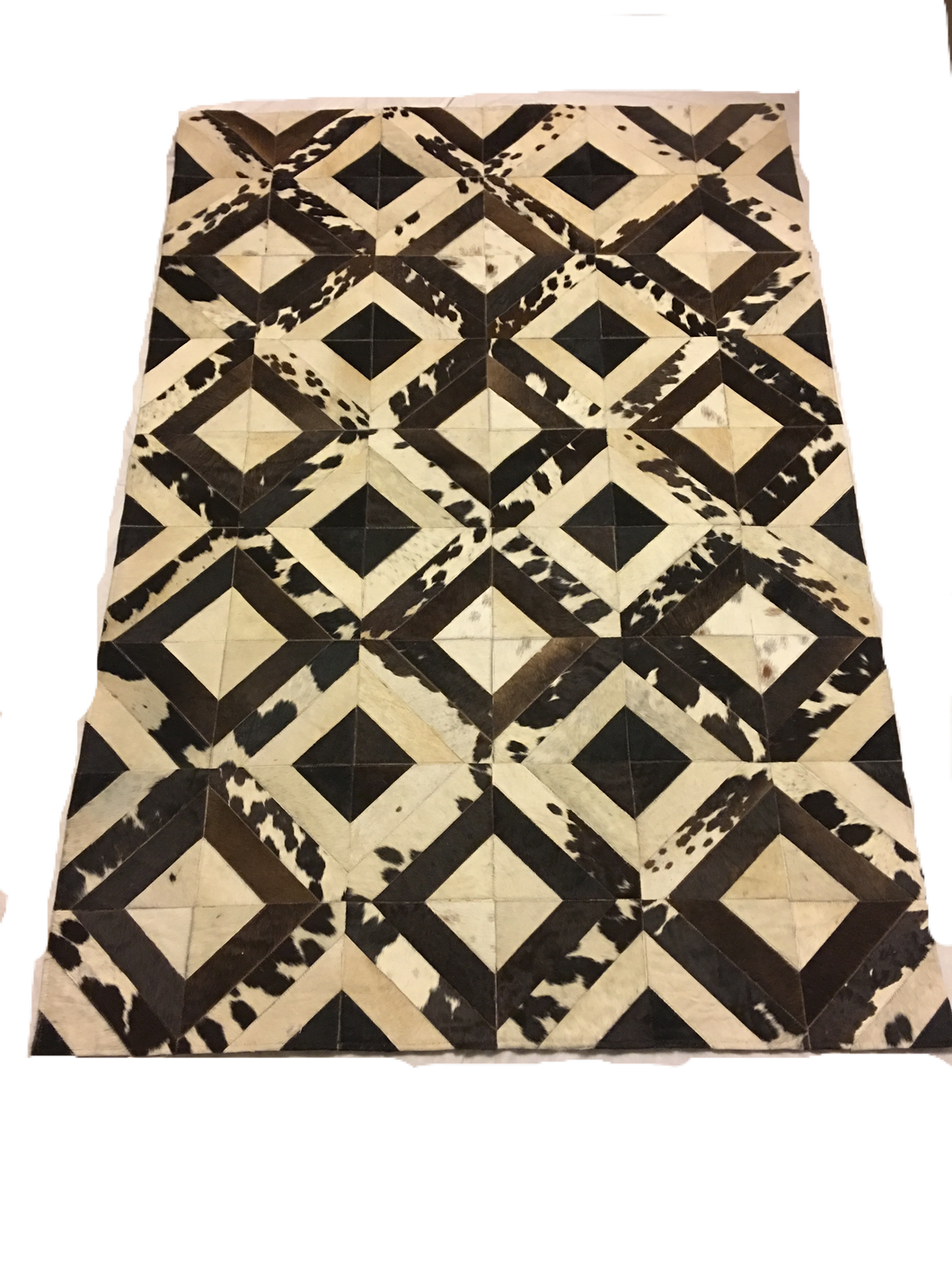 Soft tricolor cowhide leather rug