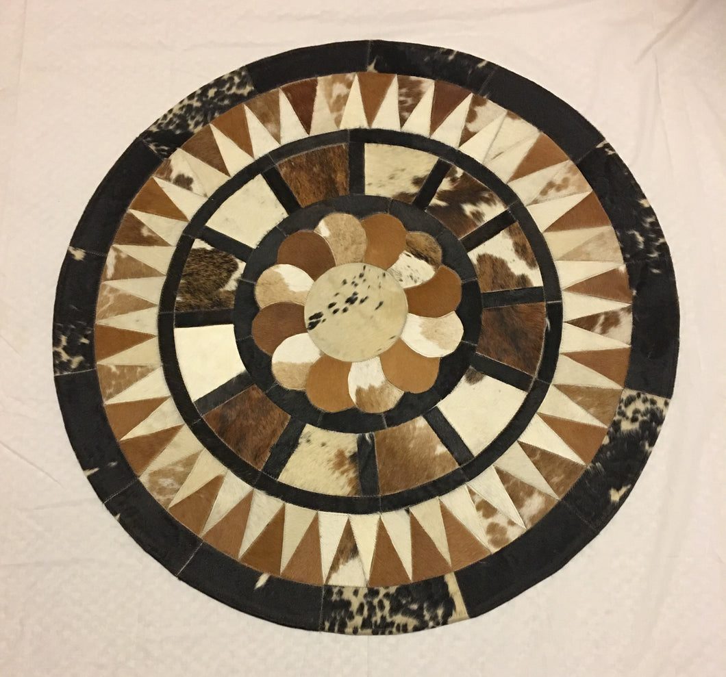 Tricolor soft cowhide round rug