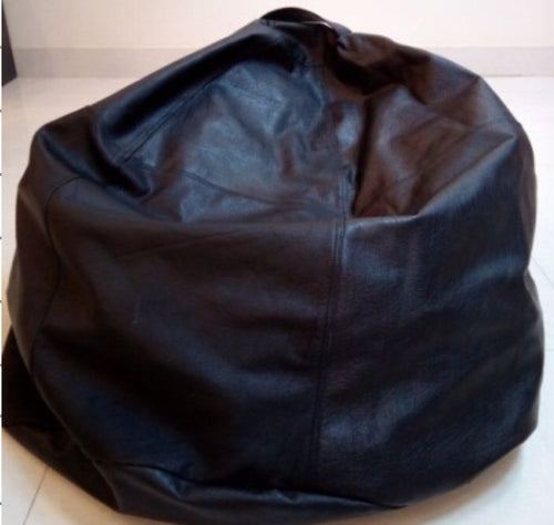 Black leather bean bag chair