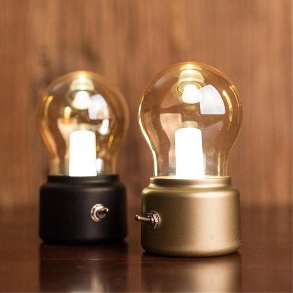 Retro Bulb Desk Lamp - USB Rechargeable