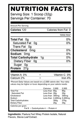 Isolate Nutrition Facts