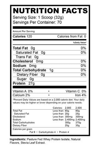 Precision Iso Protein Nutrition Facts