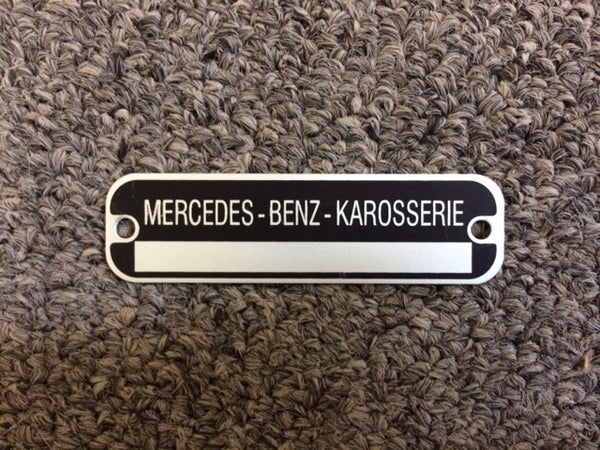 190SL Mercedes Benz Data Tag - Early Car Body Number Tag