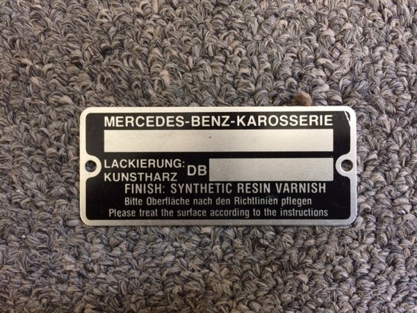 190SL Mercedes Benz Data Tag - Door Pillar with Paint Code