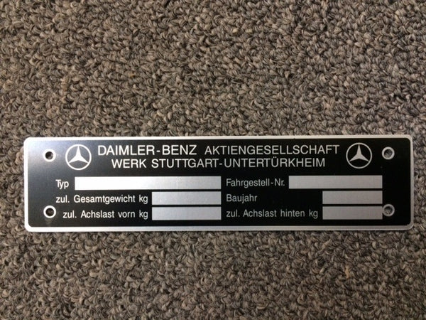 190SL Mercedes Benz Data Tag - Early VIN, German