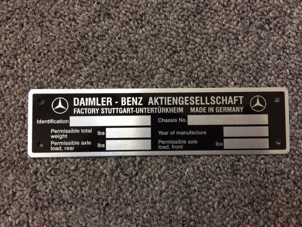 190SL Mercedes Benz Data Tag - Late VIN, English