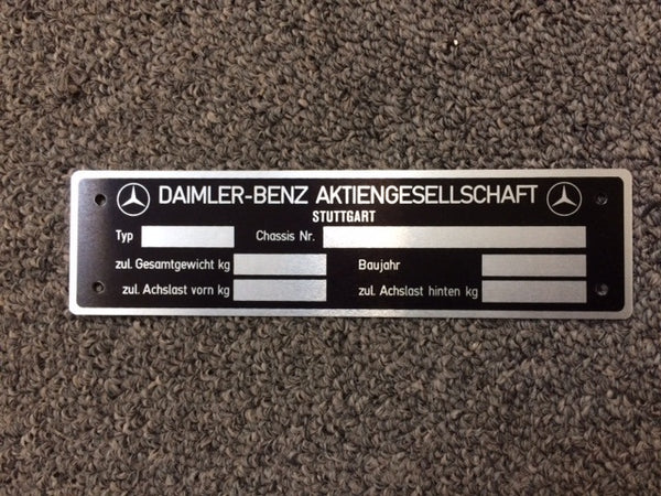 190SL Mercedes Benz Data Tag - Late Vin, German
