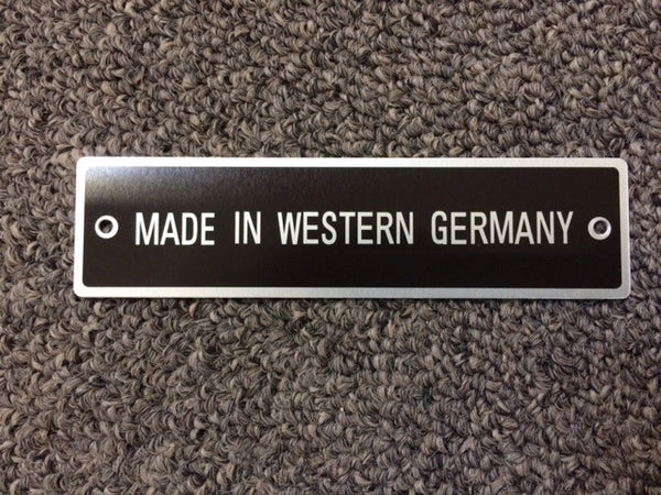 "190SL Mercedes Benz Data Tag - ""Made in West Germany"""