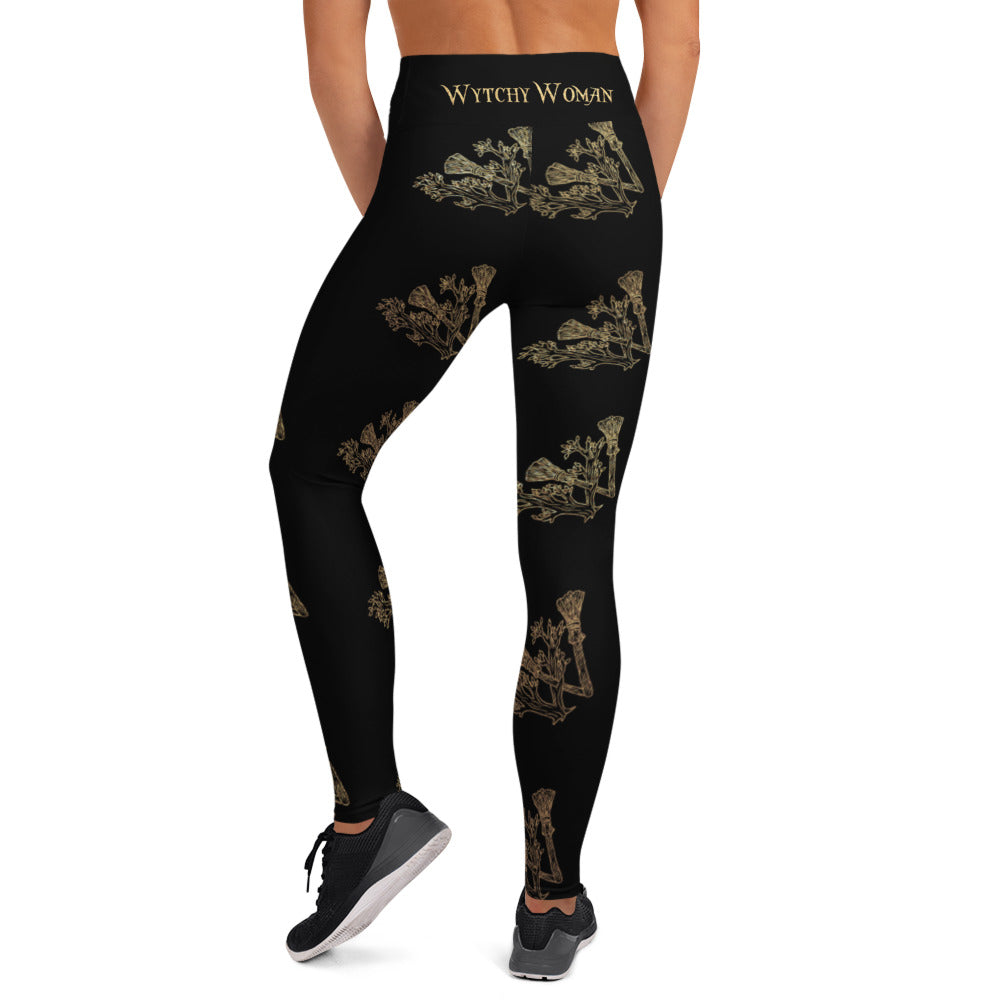 WytchWood Yoga Leggings - Black with Gold Print