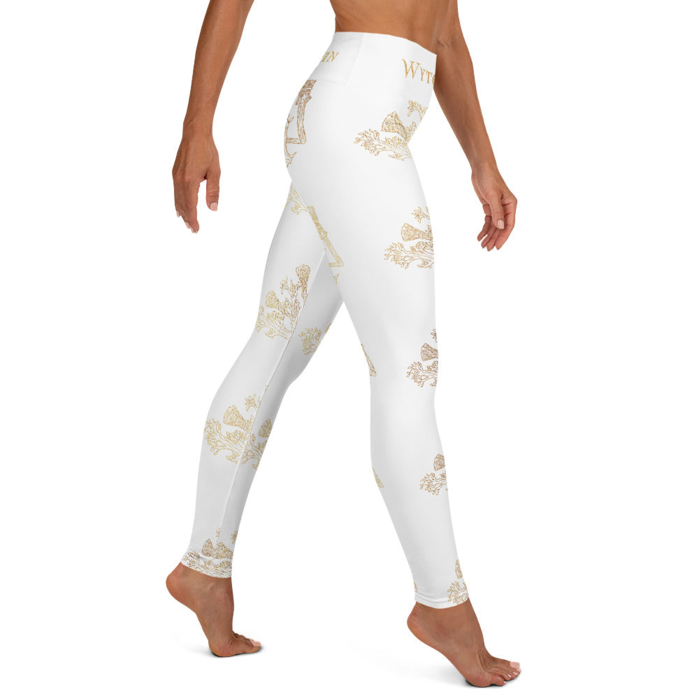 WytchWood Yoga Leggings - White with Gold Print