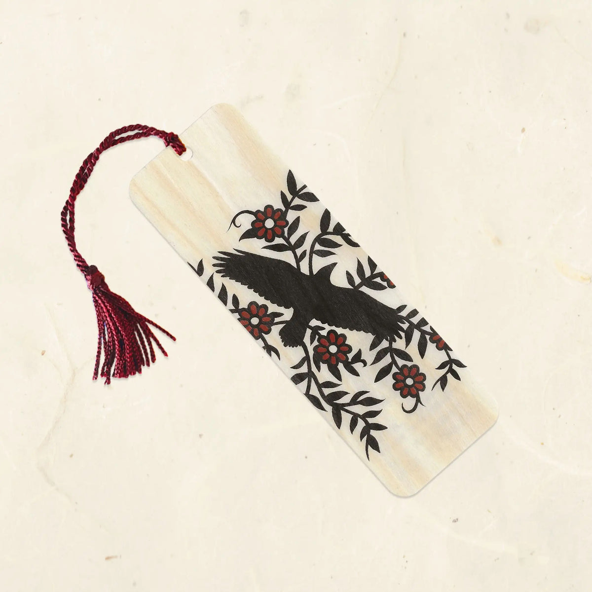 Raven Wood Bookmark with Tassel