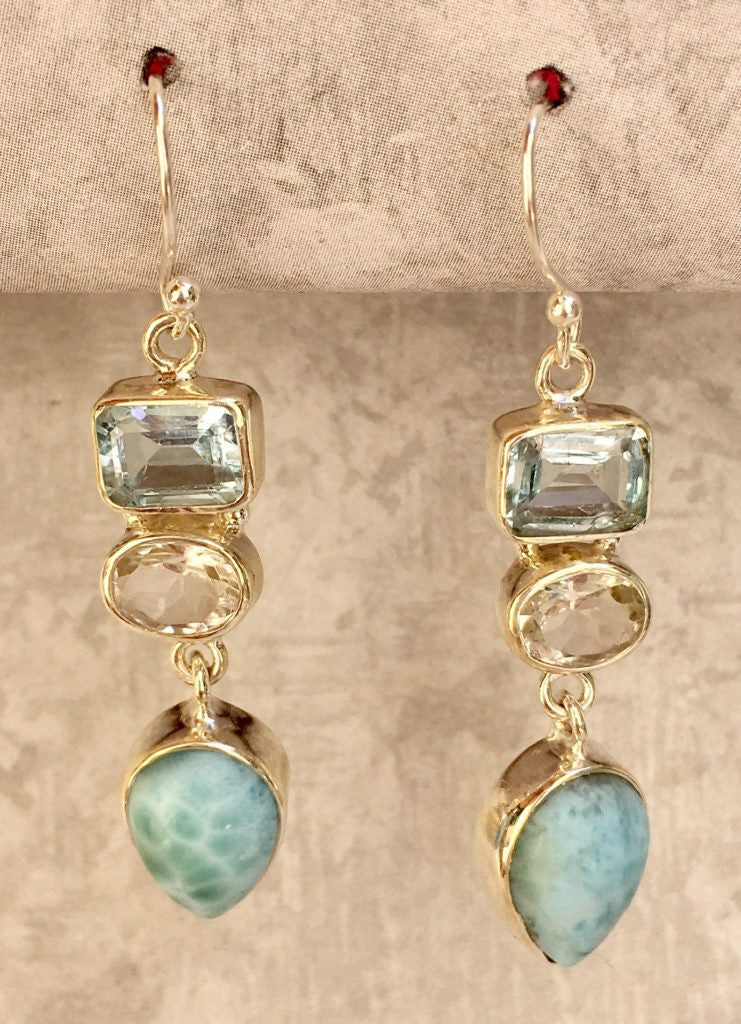 Larimar, White and Blue Topaz Drop Earring