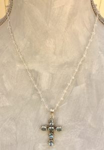 White Topaz and Blue Topaz in Sterling Cross Necklace