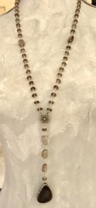 Smoky Quartz And Hypersenth in Sterling Rosary Style Necklace