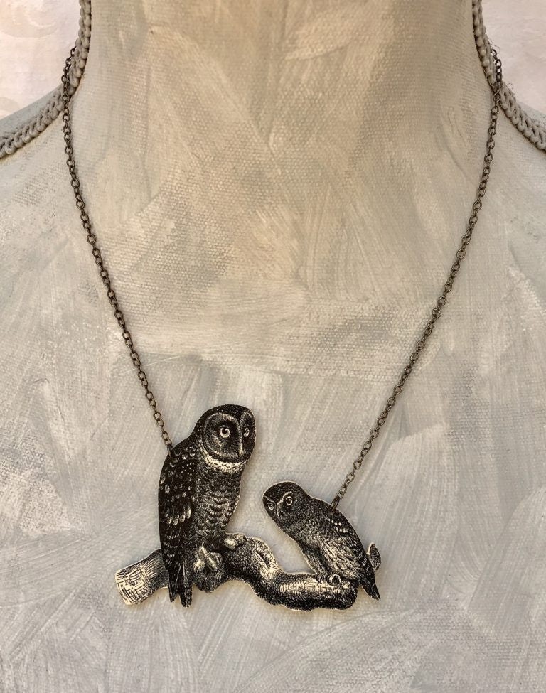 Mama's Little Babies Owl Pair Necklace