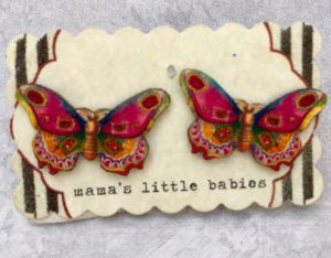 Mama's Little Babies Pink Butterfly Post Earring