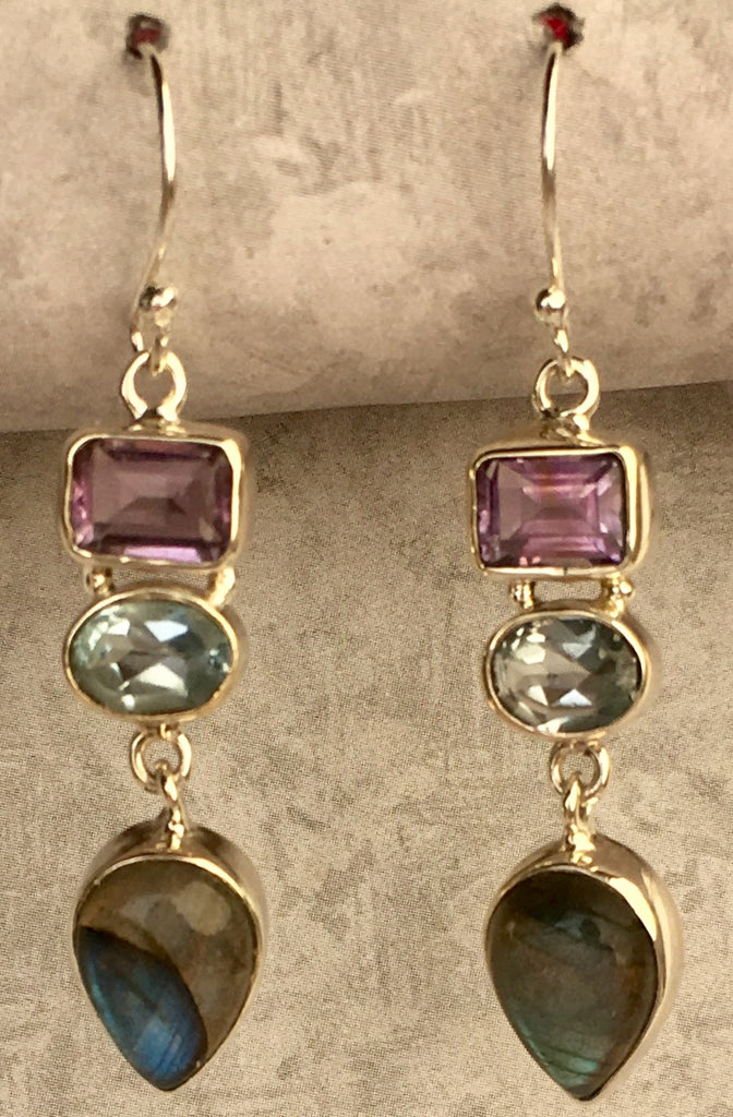 Labradorite, Blue Topaz, and Amethyst in Sterling Drop Earring