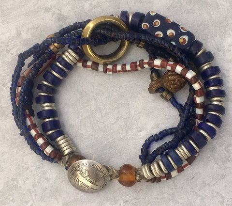 OOAK African Trade Bead Collage Bracelet by Gail Brownfield
