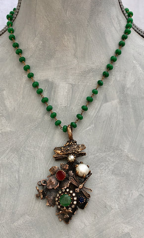 OOAK Turkish Collage Necklace with Dragonfly, Birds, Emerald, Ruby, Pearl on an Emerald Wire Wrapped Strand. Serpent clasp.