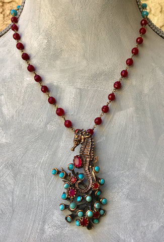OOAK Turkish Collage Necklace in Bronze with Seahorse, Turquoise, Ruby on a Ruby and Crystal Wire Wrapped Strand, Serpent Clasp