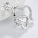 Double Heart Sterling silver Necklace - Love- Heart - Birthday, Anniversary, special occasion gift