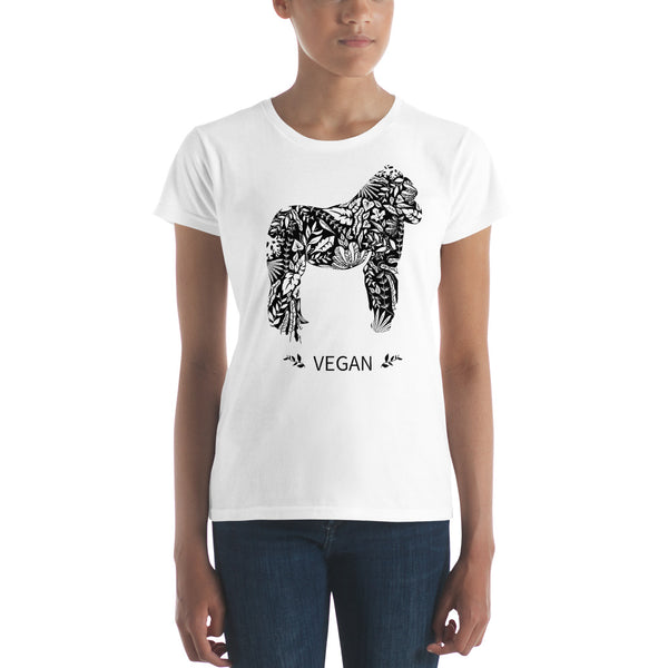 Women's short sleeve Gorilla Vegan Power  t-shirt
