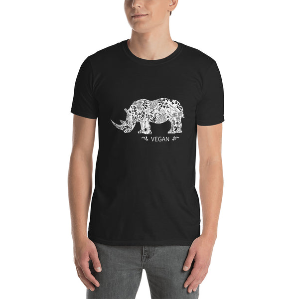 Vegan Rhinoceros design Short-Sleeve Unisex T-Shirt