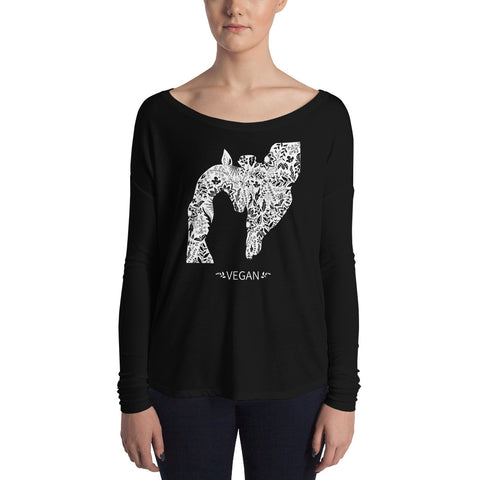 Vegan Giraffe design Ladies' Long Sleeve Tee
