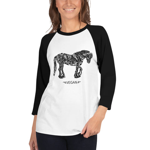 Womens 3/4 sleeve Vegan Horse raglan shirt