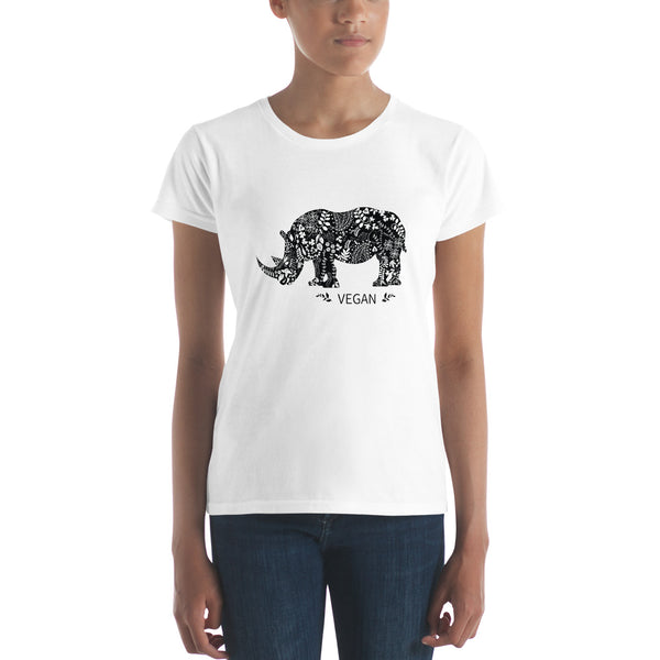 Women's short sleeve Rhinoceros Vegan Power t-shirt