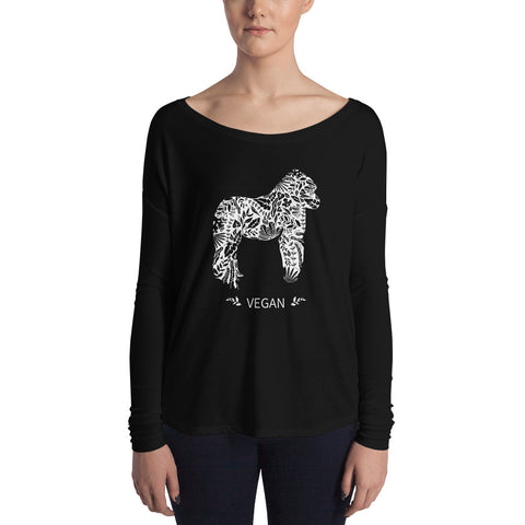 Vegan Gorilla design Ladies' Long Sleeve Tee