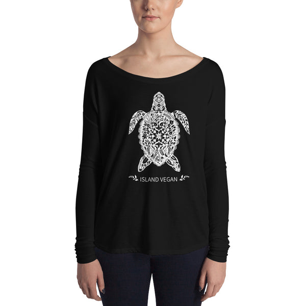 Loud Vegan Island Turtle Long Sleeve Ladies Tee
