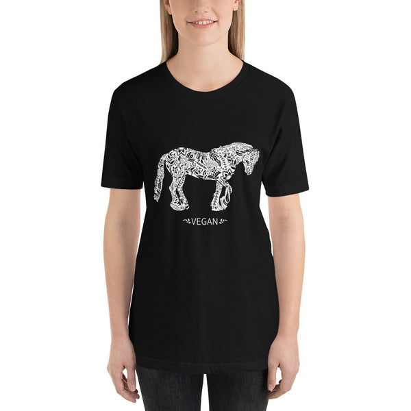 Womens Short-Sleeve Vegan Horse Unisex T-Shirt