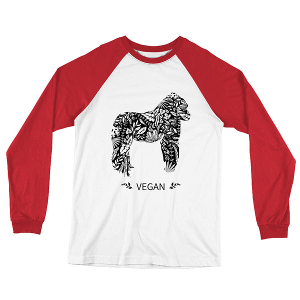 Loud Vegan Gorilla Baseball Long Sleeve T-Shirt