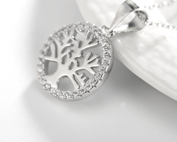 Sterling Silver Star Tree Pendant Necklace with Chain. AAA Zirconia, Great gift for that Special Vegan