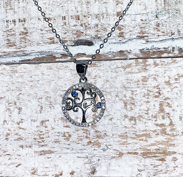 Loud Vegan Fashion Jewelry Blue Cubic Zirconia 925 Sterling Silver Necklace Tree of Life Necklaces