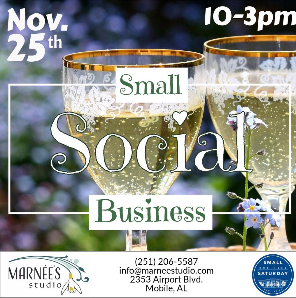 Small Business Saturday Social at Marnée's Art Studio & Art Gallery 11.25.17, 10am-3pm!