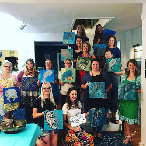 Marnée's Studio Mixed Media Paint Party Benefitting Manatee Sighting Network in Mobile, Alabama