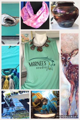 Products from Marnée's Studio in Mobile, Alabama including Contemporary Paintings, Jewelry, Pottery, and Textiles