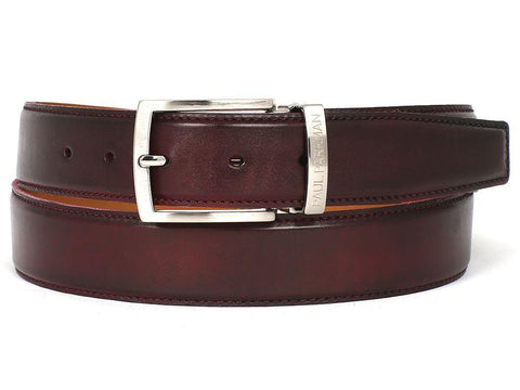 Paul Parkman Leather Belt Hand-Painted Dark Bordeaux