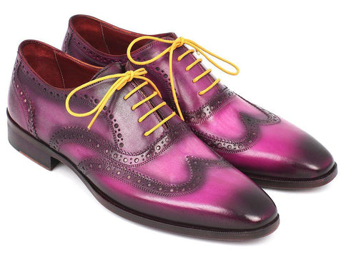 Paul Parkman Wingtip Oxfords Lilac Handpainted Calfskin