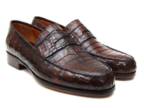 Paul Parkman Brown Genuine Crocodile Penny Loafers