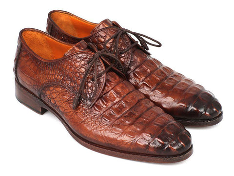 Paul Parkman Light Brown Crocodile Embossed Calfskin Derby Shoes